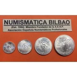 MEXICO 1/20 + 1/10 + 1/4 + 1/2 ONZA 1993 ANGEL ALADO 4 MONEDAS DE PLATA PURA SC Mejico silver FRACCIONES DE ONZA OZ