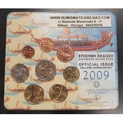 GRECIA CARTERA OFICIAL EUROS 2009 SC 1+2+5+10+20+50 CENTIMOS + 1 EURO + 2 EUROS 2009 BU SET KMS