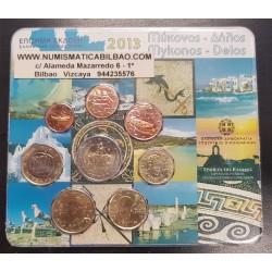 GRECIA CARTERA OFICIAL EUROS 2013 SC 1+2+5+10+20+50 CENTIMOS 1 EURO + 2 EUROS 2013 EUROPA BU SET 8 MONEDAS MYKONOS