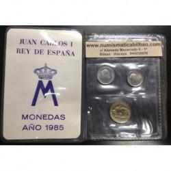 ESPAÑA CARTERA 1985 SC : 1 PESETA + 10 PESETAS + 100 PESETAS 1985 REY JUAN CARLOS I SIN CIRCULAR 3 MONEDAS