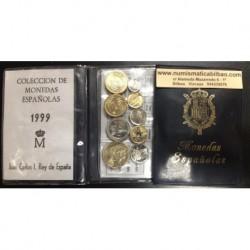 ESPAÑA CARTERA 1999 SC 1+5+10+25+50 + 2x100 + 200 + 500 PESETAS 1993 SC 9 MONEDAS JUAN CARLOS I