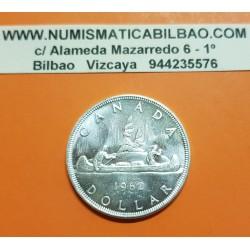 CANADA 1 DOLAR 1962 INDIOS EN CANOA tipo VOYAGEUR KM.54 MONEDA DE PLATA SC $1 Dollar silver coin