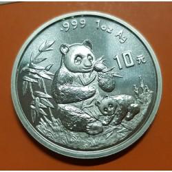 CHINA 10 YUAN 1996 OSO PANDA PLATA SC SILVER UNC Silber 1 Oz