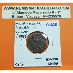 INDIA 1 ANNA 1943 VS2000 Estado de MEWAR FORMA OCTOGONAL KM.17 MONEDA DE COBRE MBC Colonia de Inglaterra