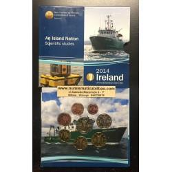IRLANDA CARTERA OFICIAL EUROS 2014 SC 1+2+5+10+20+50 Centimos + 1 EURO + 2 EUROS 2014 UNC BU SET AN ISLAND NATION