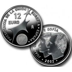 ESPAÑA 12 EUROS 2002 @NO BOLSA@ PRESIDENCIA DE LA UNION EUROPEA MONEDA DE PLATA SC SILVER