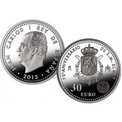 ESPAÑA 30 EUROS 2013 SC 75 ANIVERSARIO DE S.M. MAJESTAD EL REY DON JUAN CARLOS I MONEDA DE PLATA SC EN BOLSA ORIGINAL