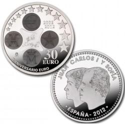 .ESPAÑA 30€ EUROS 2012 X ANIVERSARIO DEL EURO PLATA SC