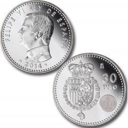 ESPAÑA 30 EUROS 2014 CORONACION y PROCLAMACION COMO NUEVO REY DE FELIPE VI MONEDA DE PLATA SIN CIRCULAR