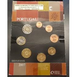 PORTUGAL CARTERA OFICIAL EUROS 2007 SC 1+2+5+10+20+50 CENTIMOS + 1 EURO + 2 EUROS 2007 @SUPER RARA@ BU SET KMS 8 MONEDAS