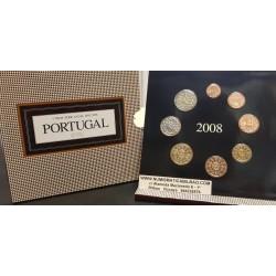 PORTUGAL CARTERA OFICIAL EUROS 2008 SC 1+2+5+10+20+50 CENTIMOS + 1 EURO + 2 EUROS 2008 @RARA@ BU SET KMS 8 MONEDAS