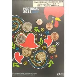"""PORTUGAL CARTERA OFICIAL EUROS 2013 SC 1+2+5+10+20+50 CENTIMOS + 1 EURO + 2 EUROS 2013 BU SET KMS """"TIPO CARTON"""""""