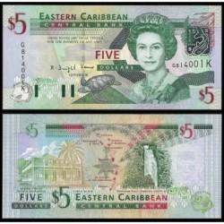 SAN CRISTOBAL y NIEVES 5 DOLARES 2003 ISABEL II y MAPA Pick 42K BILLETE SC UNC BANKNOTE Caribbean States SAINT KITTS & NEVIS