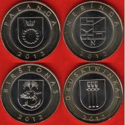 .LITUANIA 4 monedas x2 LITAS 2012 BIMETALICAS SC LITHUANIA LITAI