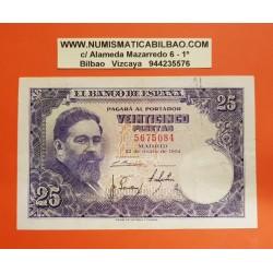 ESPAÑA 25 PESETAS 1954 ISAAC ALBENIZ Sin Serie 5675084 Pick 147 BILLETE MBC Spain banknote