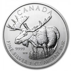 CANADA 5 DOLARES 2012 WILDLIFE ALCE MONEDA DE PLATA PURA 9999 $5 DOLLAR SILVER COIN 1 ONZA OUNCE OZ