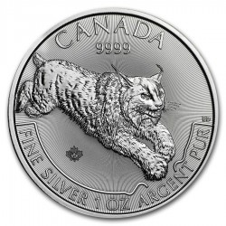 CANADA 5 DOLARES 2017 PREDATOR SERIES LINCE MONEDA DE PLATA PURA SC $5 Dollars 1 ONZA 2017 OZ OUNCE Lynx