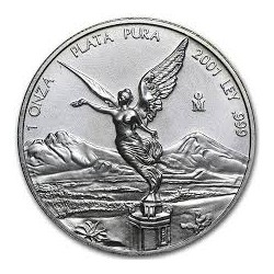 MEXICO 1 ONZA 2001 ANGEL PLATA PURA SC ONZA SILVER UNC