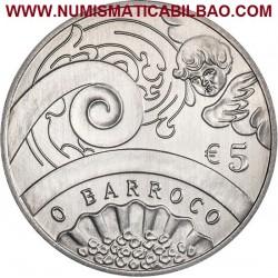 PORTUGAL 5 EUROS 2018 BARROCO y ROCOCO Edades del Arte en Europa MONEDA DE NICKEL SC
