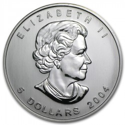 CANADA 5 DOLARES 2004 HOJA DE ARCE MONEDA DE PLATA PURA SC $5 Dollars Coin OZ OUNCE MAPLE LEAF