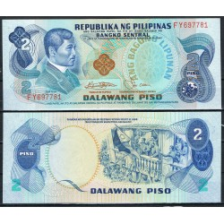 FILIPINAS 2 PISO 1981 JOSE RIZAL militasres y bandera Pick 166 BILLETE SC PHILIPPINES UNC BANKNOTE