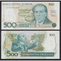 . BRASIL 500 CRUZADOS 1988 VILLA LOBOS Pick 212 SC BILLETE Sign2