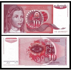 YUGOSLAVIA 10 DINARA 1990 NIÑA y FORMULAS MATEMATICAS Pick 103 BILLETE SC 10 Dinar UNC BANKNOTE