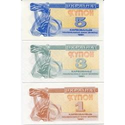 UCRANIA 1+3+5 KARBOVANTSIV 1991 ANGEL ALADO Pick 81+82+83 BILLETE SC Ukraine UNC BANKNOTE
