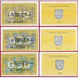 LITUANIA 0,10 + 0,20 + 0,50 TALONAS 1991 FLORES y VALOR Pick 29B + 30 + 31B BILLETE SC Latvia UNC BANKNOTE