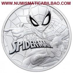 @SERIE COMIC MARVEL@ TUVALU 1 DOLAR 2017 SPIDERMAN 1ª MONEDA DE PLATA PURA SC $1 Dollar coin 1 ONZA 2017 OZ Cápsula