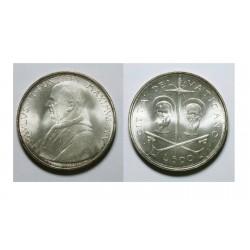 VATICANO 500 LIRAS 1967 ESCUDO DEL PAPA PABLO VI y S. PEDRO S. PABLO MONEDA DE PLATA SC Silver Lire