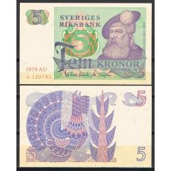 SUECIA 5 KRONOR 1979 REY GUSTAV VASA y PAJARO Pick 51D BILLETE SC Sweden UNC BANKNOTE 5 Coronas
