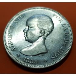 @PRECIOSA CONSERVACION@ ESPAÑA 5 PESETAS 1889 * 18 89 MPM REY ALFONSO XIII MONEDA DE PLATA (DURO) 5 Spain silver KM.689