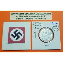 ALEMANIA 2 MARCOS 1936 J AGUILA y ESVASTICA NAZI III REICH KM.93 MONEDA DE PLATA Germany 2 Reichsmark @MUY RARA@