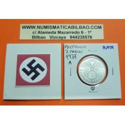 ALEMANIA 2 MARCOS 1937 A AGUILA y ESVASTICA NAZI KM.93 III REICH MONEDA DE PLATA Germany 2 Reichsmark @LUJO@ 1