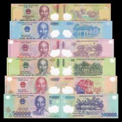 VIETNAM 6 billetes de PLASTICO 10000+20000+50000+100000+200000+500000 DONG 2016 y 2017 HO CHI MIN Pick 119 a 124 SC