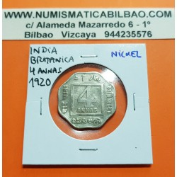 INDIA 4 ANNAS 1920 REY JORGE V Forma Lobulada KM.519 MONEDA DE NICKEL MBC- @RARA@ British India UK Colony