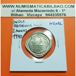 INDIA 2 ANNAS 1940 REY JORGE VI Forma de Rombo KM.541 MONEDA DE NICKEL SC- British India UK Colony WWII