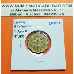 INDIA 1 ANNA 1945 REY JORGE VI Forma de Rombo KM.534 MONEDA DE LATON MBC British India UK Colony WWII