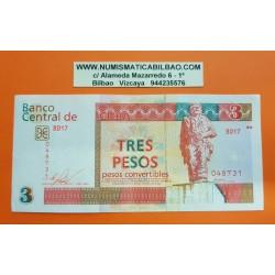 @OFERTA@ 3 PESOS CONVERTIBLES 2016 MONUMENTO A ERNESTO CHE GUEVARA Color Rojo Pick FX38 BILLETE EBC CARIBBEAN BANKNOTE
