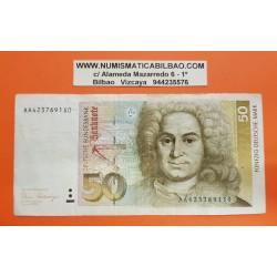 ALEMANIA 50 MARCOS 1989 BALTHASAR NEUMANN Pick 40A BILLETE MBC Germany 50 Mark BRD DEUTSCHE FEDERAL REPUBLIC