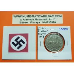 @OFERTA@ RUMANIA 100 LEI 1943 REY MIHAI I KM.64 MONEDA DE NICKEL MBC Ocupación Nazi III REICH WWII Romania