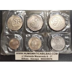 MEXICO @TIRA DE 6 MONEDAS@ 20+50 CENTAVOS + 5+10+20+50 PESOS 1980 SC MINT PLASTIC COIN SET