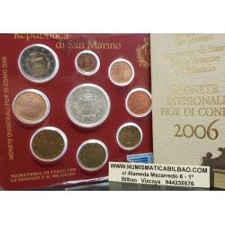 SAN MARINO CARTERA OFICIAL EUROS 2006 SET KMS 1+2+5+10+20+50 CENTIMOS 1 EURO + 2 EUROS 2006 + 5 EUROS PLATA