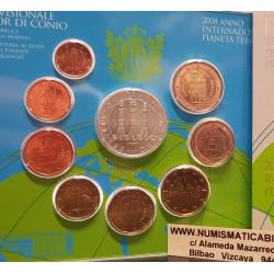 SAN MARINO CARTERA OFICIAL EUROS 2008 SET KMS 1+2+5+10+20+50 CENTIMOS 1 EURO + 2 EUROS 2008 + 5 EUROS PLATA