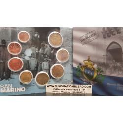 SAN MARINO CARTERA OFICIAL EUROS 2013 SET KMS 1+2+5+10+20+50 CENTIMOS 1 EURO + 2 EUROS 2013 UNC BU 8 monedas