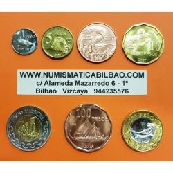 ISLA DE PASCUA @TIRA DE 7 MONEDAS@ 1+5+10+50+100 PESOS 2007 ANIMALES y 200+500 PESOS 2007 BIMETALICAS SC Easter Island @RARA@