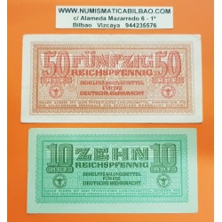 @OFERTA@ ALEMANIA 10 + 50 REICHSPFENNIG 1942 ESVASTICA Pick M34 + M35 BILLETE NAZI MBC WWII GERMAN ARMED FORCES