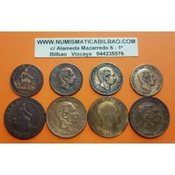 @8 MONEDAS@ ESPAÑA 5 CENTIMOS + 10 CENTIMOS 1870 + 1877 + 1878 + 1879 GOBIERNO PROVISIONAL y Rey ALFONSO XII COBRE