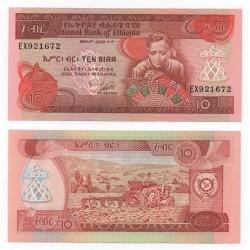 ETIOPIA 10 BIRR 1976 NATIVA TEJIENDO y TRACTOR Pick 32B BILLETE SC @ESCASO@ Ethiopia UNC BANKNOTE